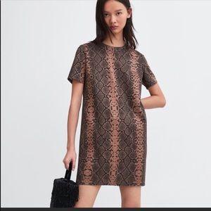 NWT's Zara Faux Suede Animal Print Dress Small S